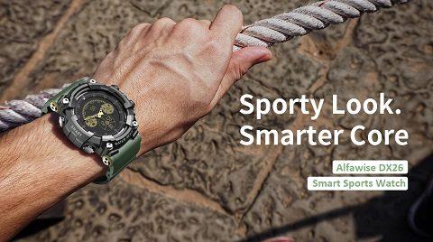 Alfawise DX26 Sports Smart Watch Fitness Tracker - Black