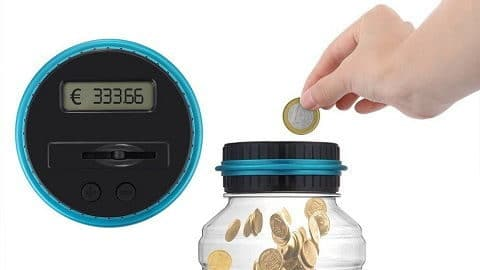 Large Digital LCD Screen Automated Coin Counting Save Money Box for EURO