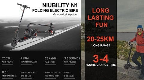 Niubility N1 8.5 Inch Two Wheel Folding Electric Scooter
