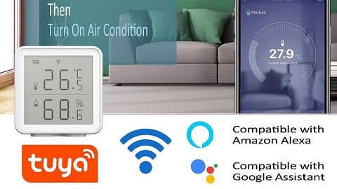 WiFi Smart Temperature Humidity Sensor (Alexa & Google Assistand Compatible)