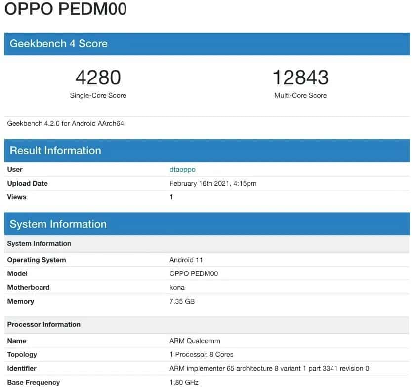 Geekbench Listing of OPPO Find X3