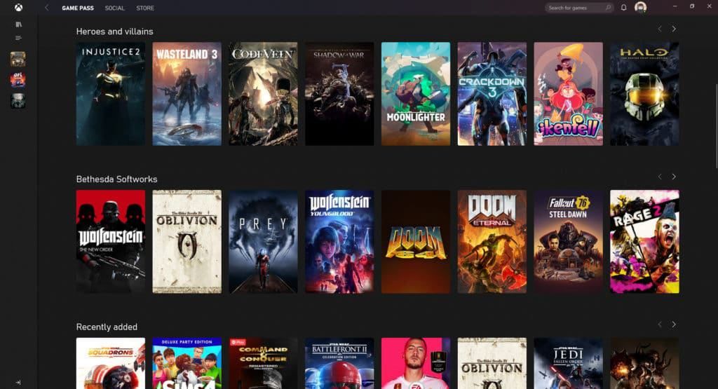 Xbox Game Pass Front Page