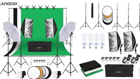 Andoer Photography Kit (1.8m*2.7m Black White Green Cotton Backdrops)