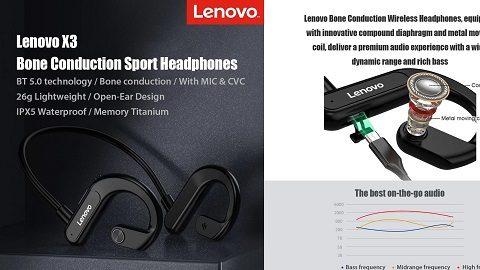 Lenovo X3 Titanium Bone Conduction Wireless Headphones