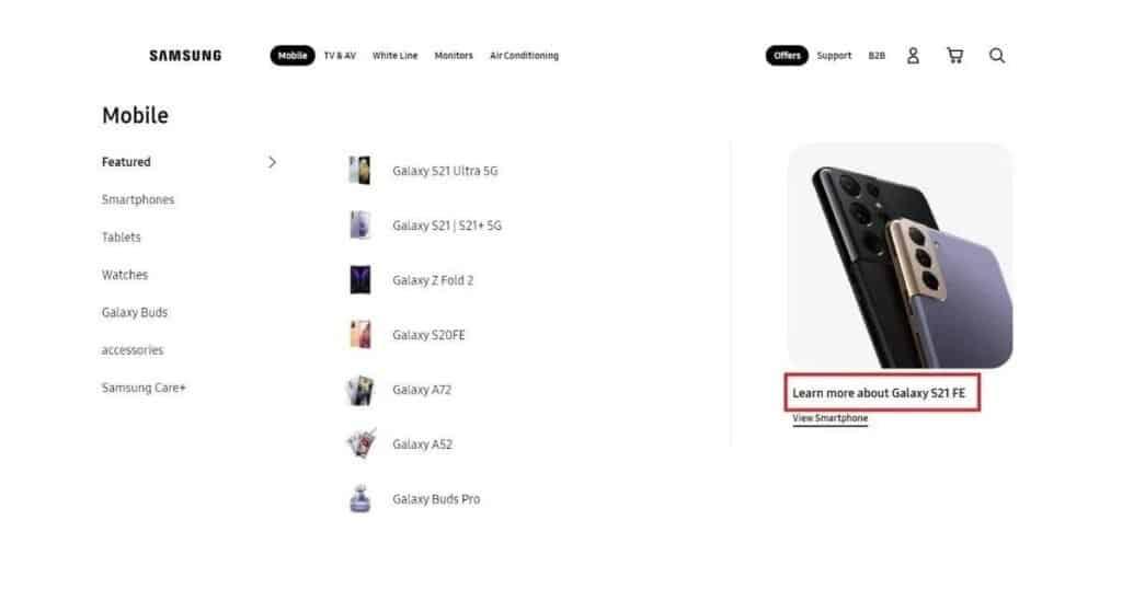 Galaxy S21 FE Listining in Samsung Mexico